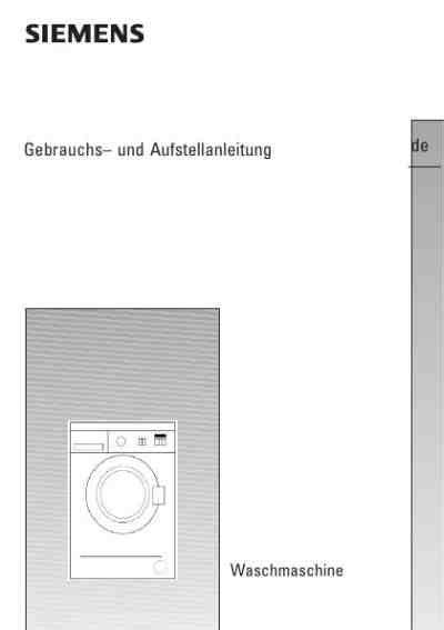 Anschluss Für Waschmaschine by Siemens Wm 12 A 261waschmaschinen Handbuch In