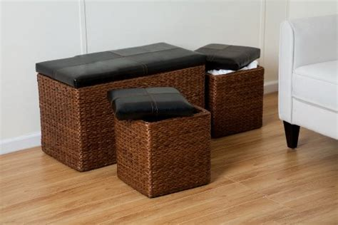 Seagrass Storage Ottoman Seri Set 3 Seagrass Storage Ottoman Faux Brown Leather Lid Seagrass Box Marlett