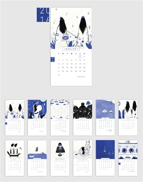 calendar design behance quot black and blue quot 2016 desk calendar on behance