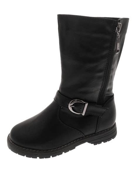 biker riding boots kids girls faux leather mid calf riding biker boots buckle