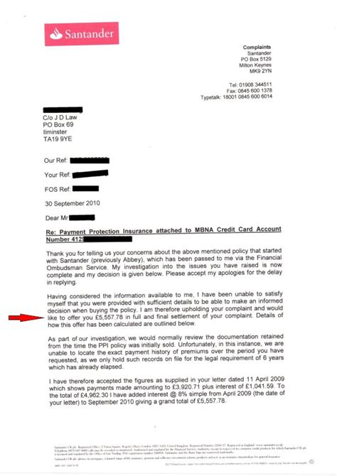 Santander Credit Letter Claiming Back Ppi And Unfair Charges Johnny Debt