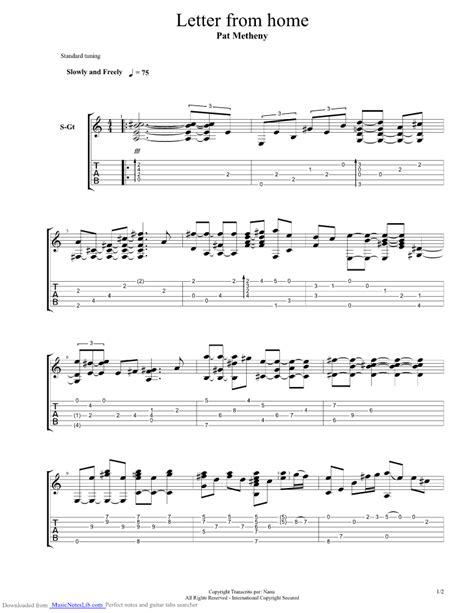 letter from home guitar pro tab by pat metheny