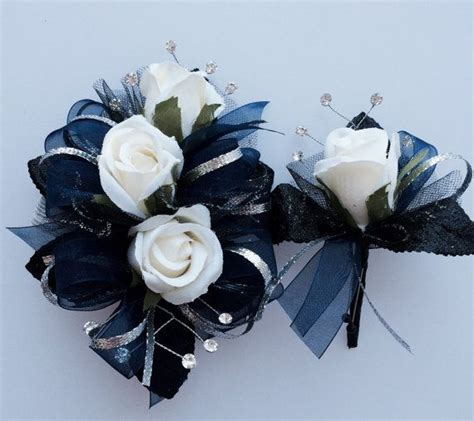 Corsage Blue Silver navy blue silver black prom corsage set by