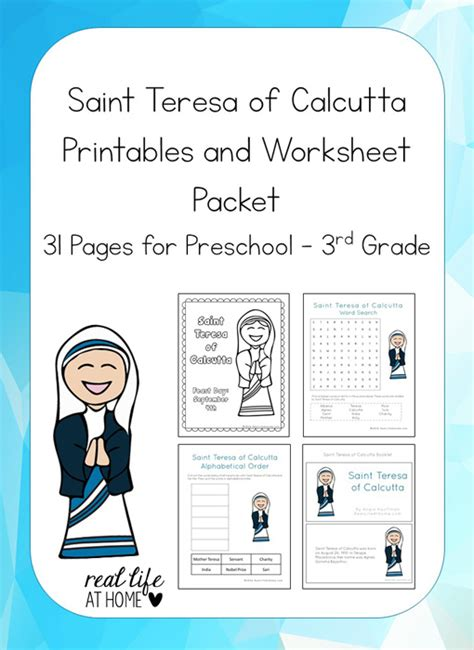 mother teresa biography project saint teresa of calcutta printables packet mother teresa