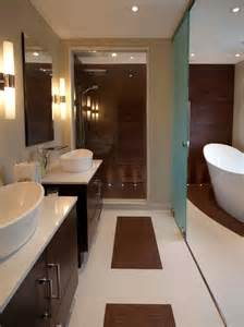 contemporary bathroom with freestanding tub photo