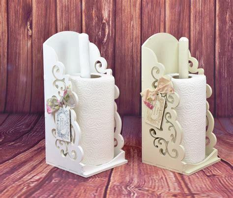 vintage shabby chic wooden kitchen towel paper holder roll dispenser white beige ebay
