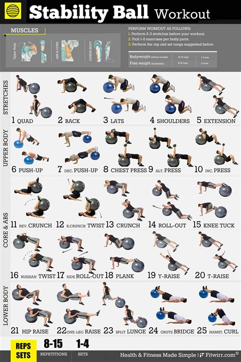 printable exercise ball workouts for beginners exercise ball workout exercise poster for men 18 quot x24