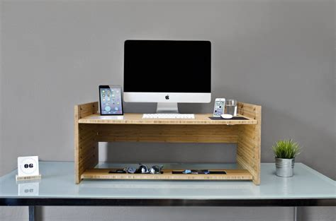 Ergonomic Standing Desk With Unfinished Wooden Laptop Computer Stand For Desk