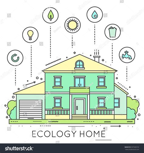 Eco Friendly Houses Information by Eco Friendly Home Infographic Ecology Green House Thin