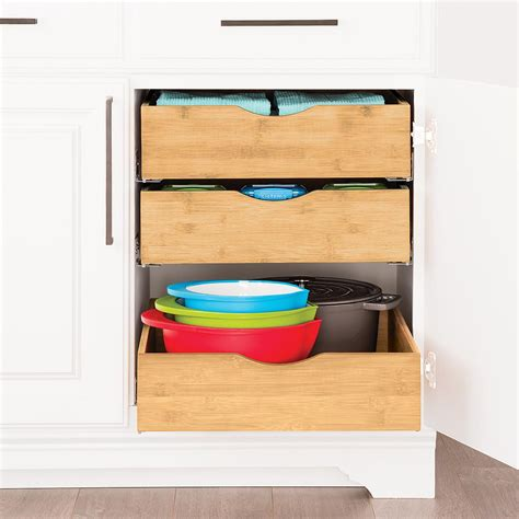 Bamboo Roll Out Cabinet Drawers by Cabinet Drawers Bamboo Pull Out Cabinet Drawers The Container Store