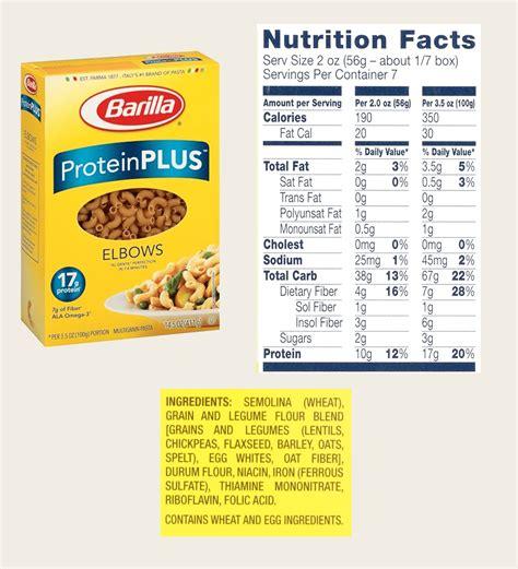 protein nutrition barilla protein pasta nutrition info nutrition ftempo