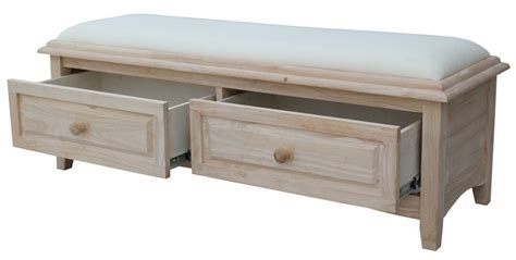 unfinished furniture storage bench butcher block solid parawood upholstered backless bench