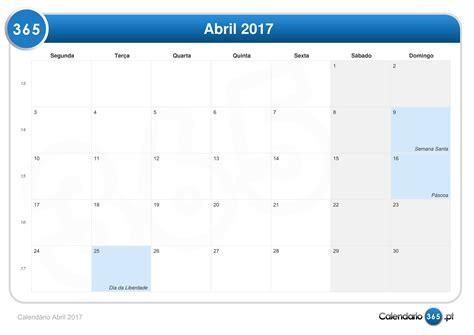 Calendario 9 De Abril Calend 225 Abril 2017