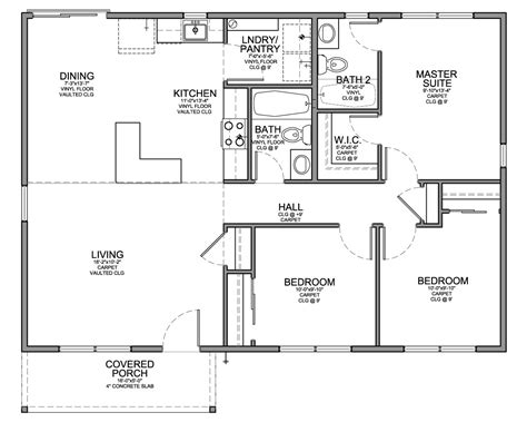 Floor Plans 3 Bedroom by Floor Plan For Affordable 1 100 Sf House With 3 Bedrooms