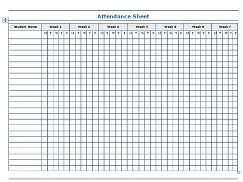 search results for printable attendance sheet template