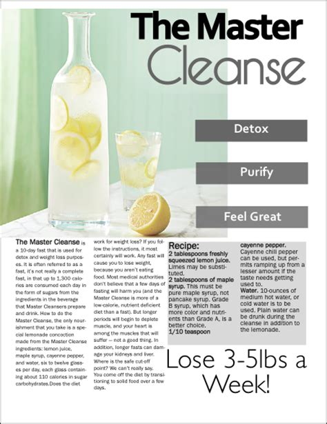 Master Cleanse Lemonade Water Detox Diet by Master Cleanse
