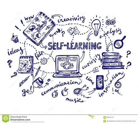 doodle learning self learning doodle illustration stock vector image