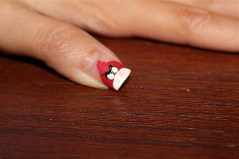 easy nail art with thin brush simple nail art for newbies angry birds nails