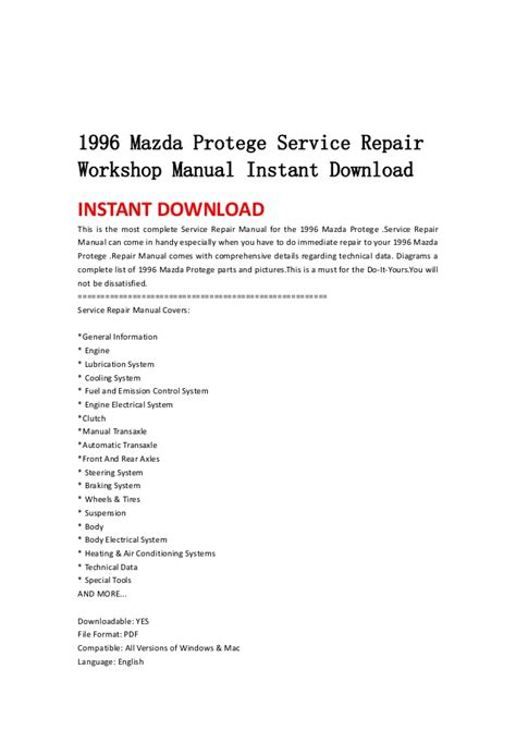 service manual 1996 mazda protege repair manual pdf 1996 mazda mx 6 repair manual pdf 1996 1996 mazda protege service repair workshop manual instant download
