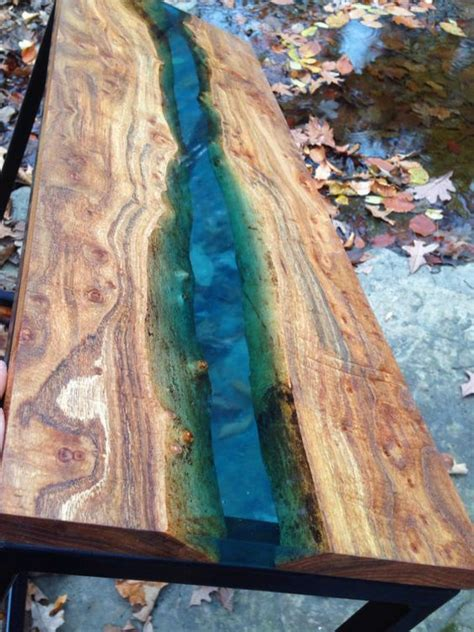 live edge river table epoxy blue resin river table by marleywoodworking on etsy