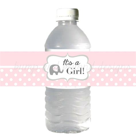 printable labels water bottles water bottle labels it s a girl baby shower powder pink