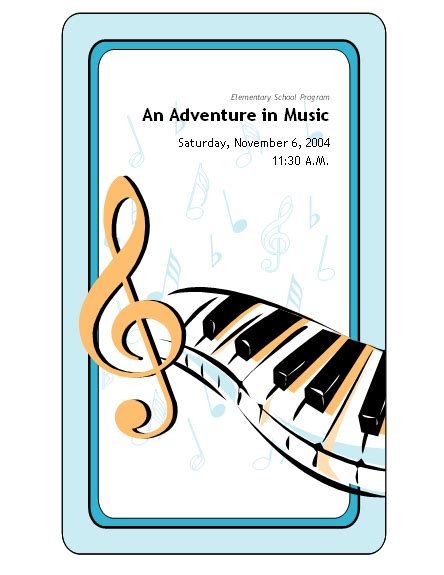 School Concert Event Program Template Microsoft Word Template Ms Office Templates School Event Program Template