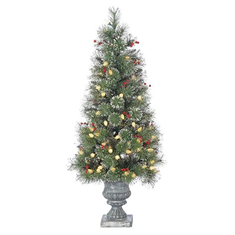 4 or 5 ftrustic christmas trees sterling 4 ft pre lit led potted alaskan fir artificial tree with frosted
