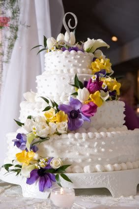 Wedding Cakes With Yellow And Purple Flowers by White Wedding Cakes With Yellow And Purple Touch Wedding