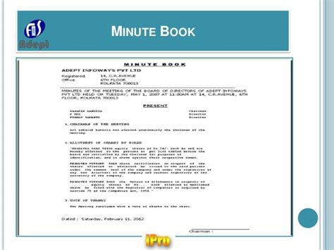 Minute Book Briefformat Ipro Software For Company Statutory E Forms Registers