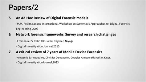 digital forensics research papers survey review of digital forensic