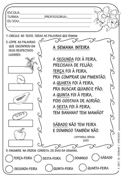 Calendario De Letra Atividade Pronta Texto Rima Dias Da Semana