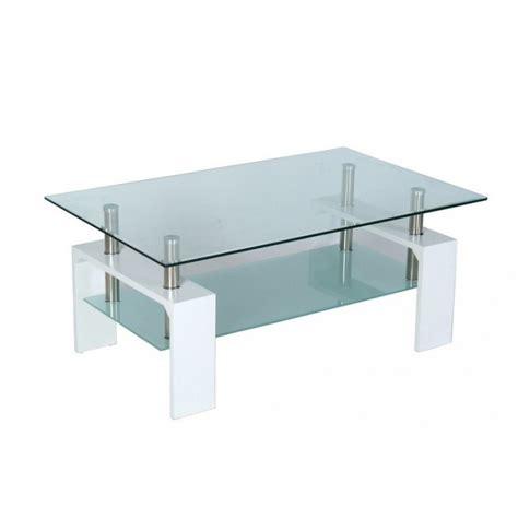 Tables Basses De Salon En Verre by Table Basse De Salon En Verre Et Mdf Blanc Laqu 233