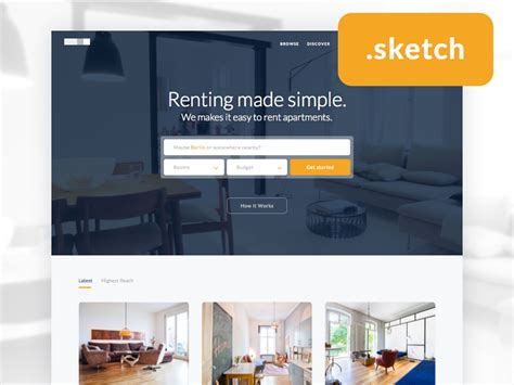 real estate landing page sketch freebie free