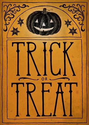vintage halloween trick or treat fine art print by sara