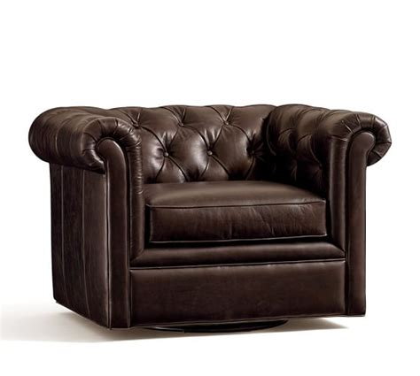 chesterfield swivel chair chesterfield leather swivel armchair pottery barn