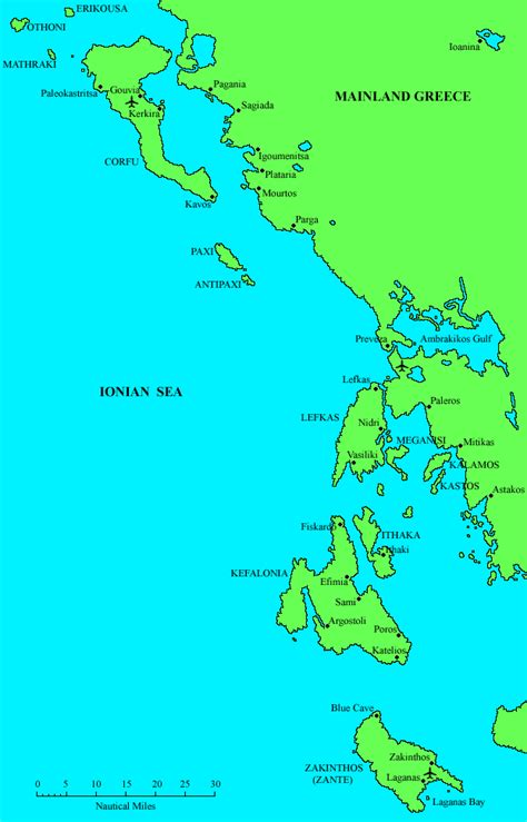 ionian sea map ionian islands suggested itineraries crewed yacht