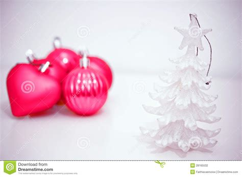 pink and purple christmas decorations stock photography