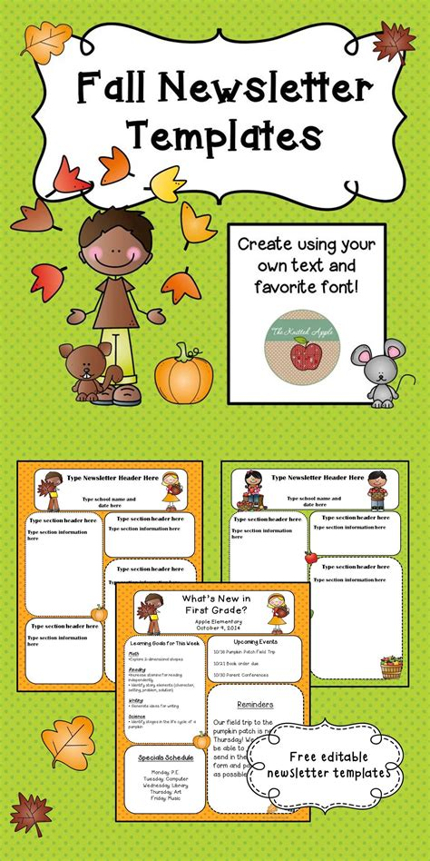 template for preschool fall newsletter templates freebie pre k