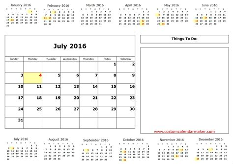 Calendar For Rest Of 2016 July 2016 Calendar Printable One Page