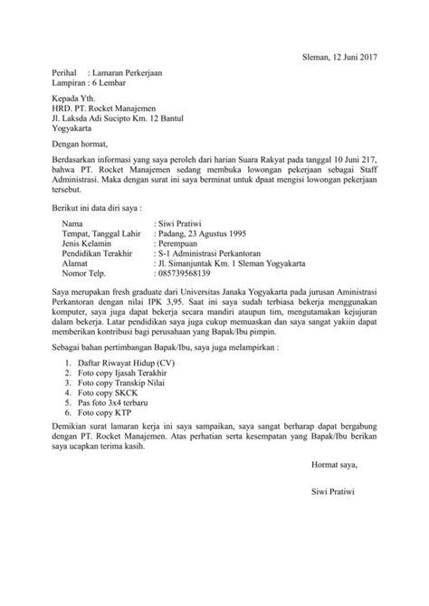 Cara Menulis Alamat Perusahaan Di Lop Surat Lamaran by 10 Contoh Surat Lamaran Kerja Yang Baik Dan Benar Lengkap