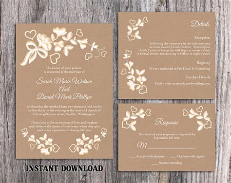 vintage rustic diy wedding invitation template diy lace wedding invitation template set editable word