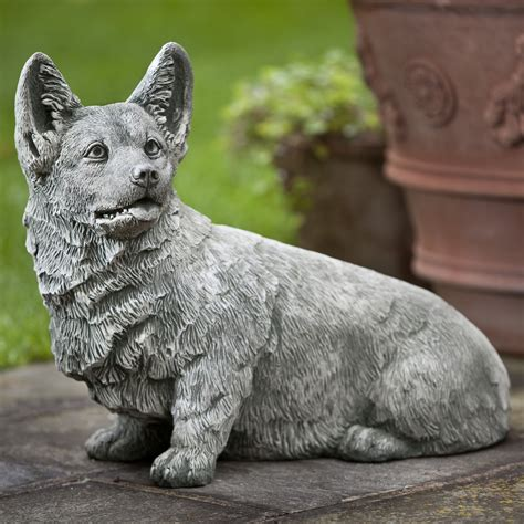 campania international pembroke  corgi dog cast stone
