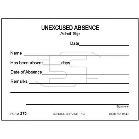 Unexcused Absence Letter Sle 270 excused absence padded forms