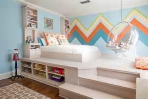 Kids bedroom furniture ideas white platform bed storage space shelves
