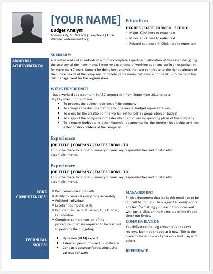 Budget Analyst Resume by Budget Analyst Resume Contents Layouts Templates