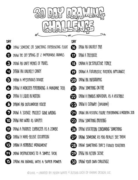 Drawing Ideas List by 30 Day Drawing Challenge Lynette Hunt