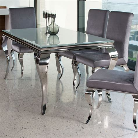 glass and chrome dining table louis contemporary black or white glass chrome 1 6m or