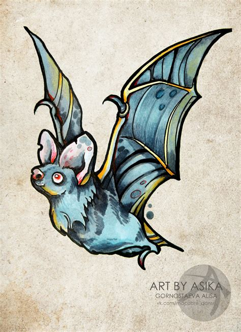 traditional bat tattoo bat new schooll neo traditional sketch by