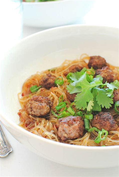 Readers Recipe Bowl Meatballs by Asian Spiced Mini Meatballs Vermicelli Noodles Bev