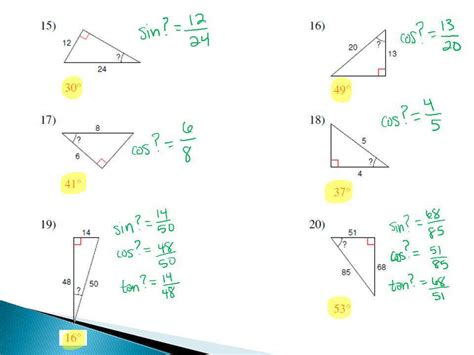 Solving Right Triangles Worksheet Answers